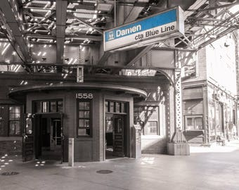 Chicago Photography, Street Photography, Chicago Architecture, Black and White Photography, Fine Art Photography - Damien Blue Line