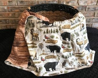 Woodland Baby Blanket, READY TO SHIP,  Woodland and Wood Grain Receiving Blanket, Stroller Blanket, Swaddle Blanket, Toddler Blanket