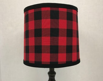 Nursery Lampshade, Red Buffalo Check Lamp Shade, Baby Nursery Lamp Shade, Custom Lampshade, Lumberjack Lampshade, Home Decor