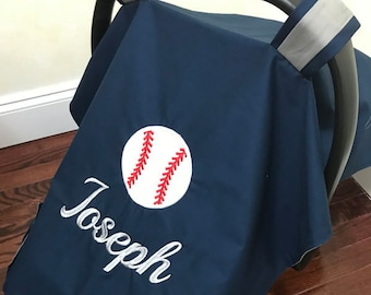 Carseat Tent Sports Baseball Baby Shower Gift Carrier Cover Car Seat Navy And Gray Canopy