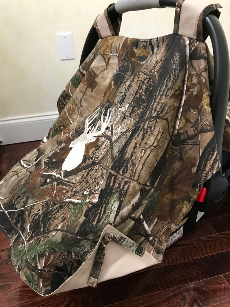 Baby Car Seat Tent Canopy Baby Shower Gift Camouflage Car Seat Cover Ivory Deer Car Seat Cover Baby Boy Shower Gift Baby Carrier Cover