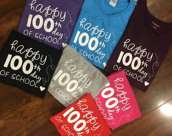 100th Day of School, Happy 100th Day of School, teacher Tee, 100th Day shirt