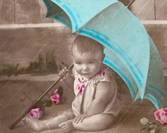 Antique old french postcard traveled 1910's baby rain rainy day umbrella humorous phrase expression rose flowers cabbage ephemera