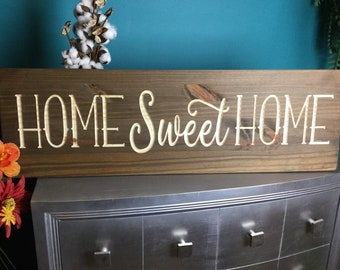 9e5c3aa56c7 Large Home Sweet Home Wood Signs Sayings Personalized Signs Wood for  Wedding Home Decor Wooden Farmhouse Quote Rustic Country Barn Engraved