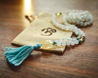 GODDESS Moonstone Mala Necklace, Meditation Beads, Mala bead necklace, healing gemstone jewelry Dominican Larimar Citrine eco-friendly mala
