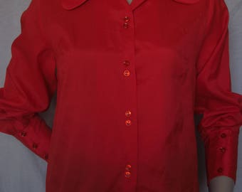Red collared blouse size 14
