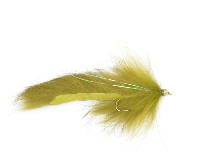 Bead Head Bouface Marabou Bunny Streamer - Olive - Trout and Bass Fly Fishing Flies - Hook Size 4 - Hand Tied Trout Flies