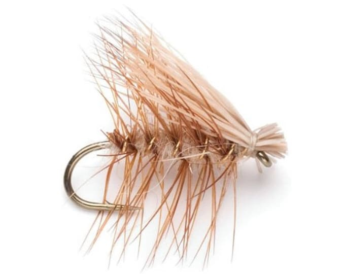 Tan Elk Hair Caddis Classic Dry Fly - Hook Size 12 - Hand-Tied Fly Fishing Trout Flies