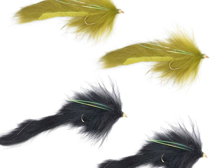 Bead Head Bouface Streamer Assortment - Olive and Black - Trout and Bass Fly Fishing Flies - Hook Size 4 - Set of 4 Hand Tied Trout Flies