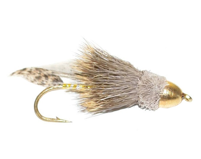 Hand-Tied Fly Fishing Trout Flies: Cone Head Muddler Minnow Classic Streamer Wet Fly - Hook Size 8