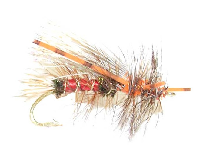 Hand-Tied Fly Fishing Trout Flies: Royal Red Crystal Stimulator Dry Fly - Hook Size 10