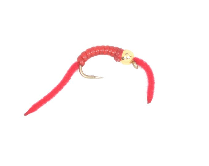 Gold Bead Head San Juan Worm with Red V-Rib Body - Trout and Panfish Fly Fishing Flies - Hook Size 10 - Hand Tied Trout Flies