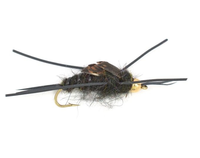 Bead Head Kaufmanns Black Stonefly Nymph Rubber Legs Fly - Trout and Panfish Fly Fishing Flies - Hook Size 6 - Hand Tied Trout Flies