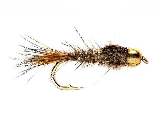 Bead Head Gold Ribbed Hares Ear Nymph Fly - Trout and Panfish Fly Fishing Flies - Hook Size 16 - Hand Tied Trout Flies