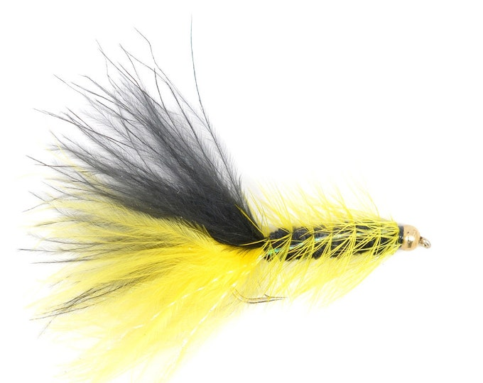 Hand Tied Trout Flies: Bead Head Crystal Woolly Bugger Yellow/Black - Trout and Bass Fly Fishing Flies - Hook Size 4