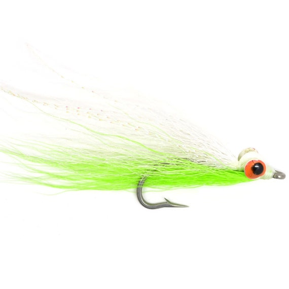 Clouser Minnow Size 2 Hook Fly Fishing Chartreuse /& White 3 Flies Saltwater