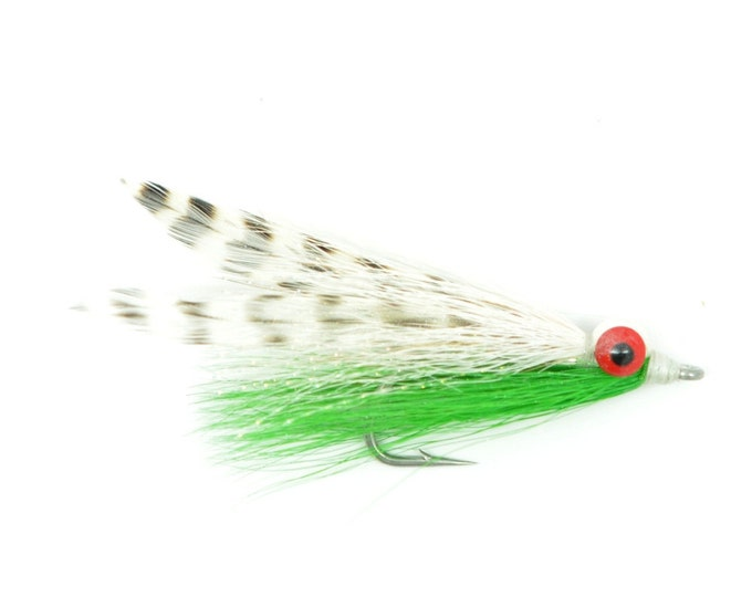 Clousers Minnow Fly Fishing Flies  - Green/Grizzly/White Clouceiver Saltwater and Bass Flies - Hook Size 1/0