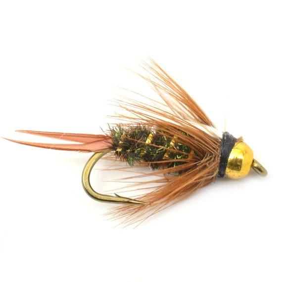 1//2 Dozen Bead Head Gold Ribbed Hare/'s Ear Nymph Natural 6 Flies