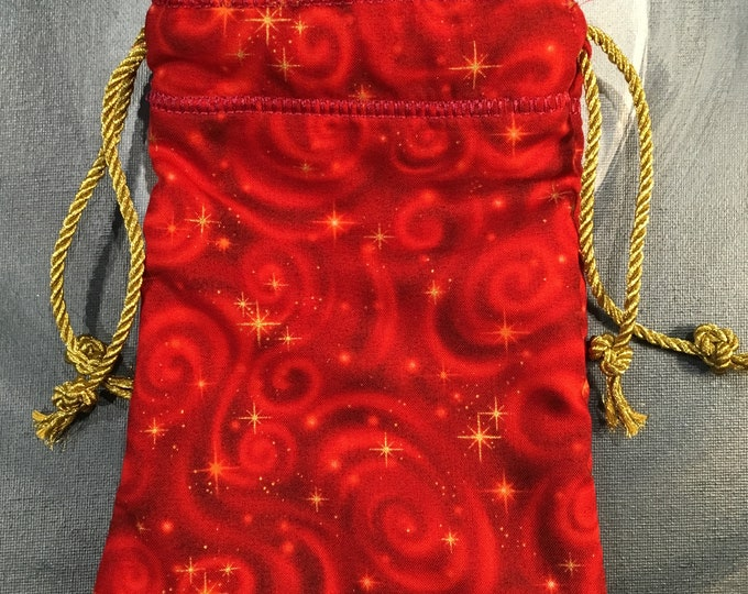 Red Swirls and Star Lined Drawstring Bag