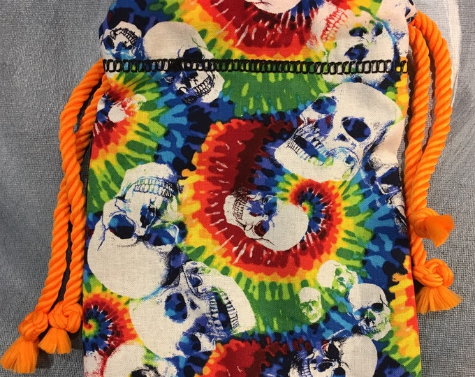 Rainbow Skull Cotton Lined Bag with Orange Cord