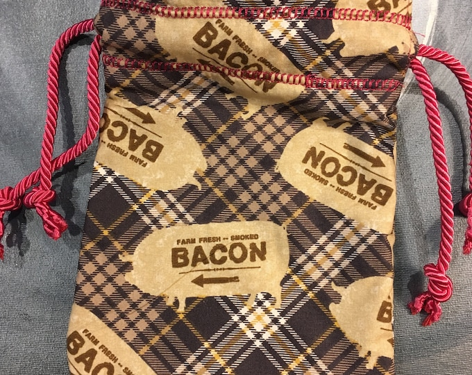 Bacon Lined Drawstring Bag