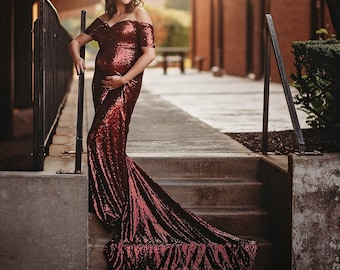 52321198 LUXURY Burgundy SEQUIN Fitted mermaid/sweetheart Short Off Shoulders Sleeves /Maternity Photo Session/Babyshower GownPLUS Sizes! Customizable