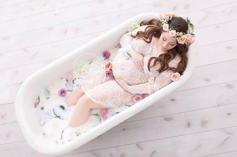 fb1c2113868 MILK BATH Lace Gown Maternity Photo Shoot Professional