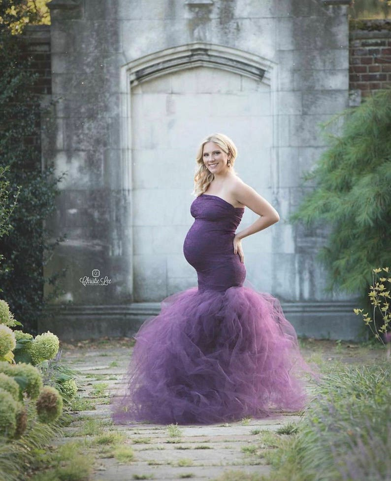 fd7d1df6e2222 PLUM Tulle Dress Gown/Fluffy Flowy Tulle/Maternity Pregnancy | Etsy
