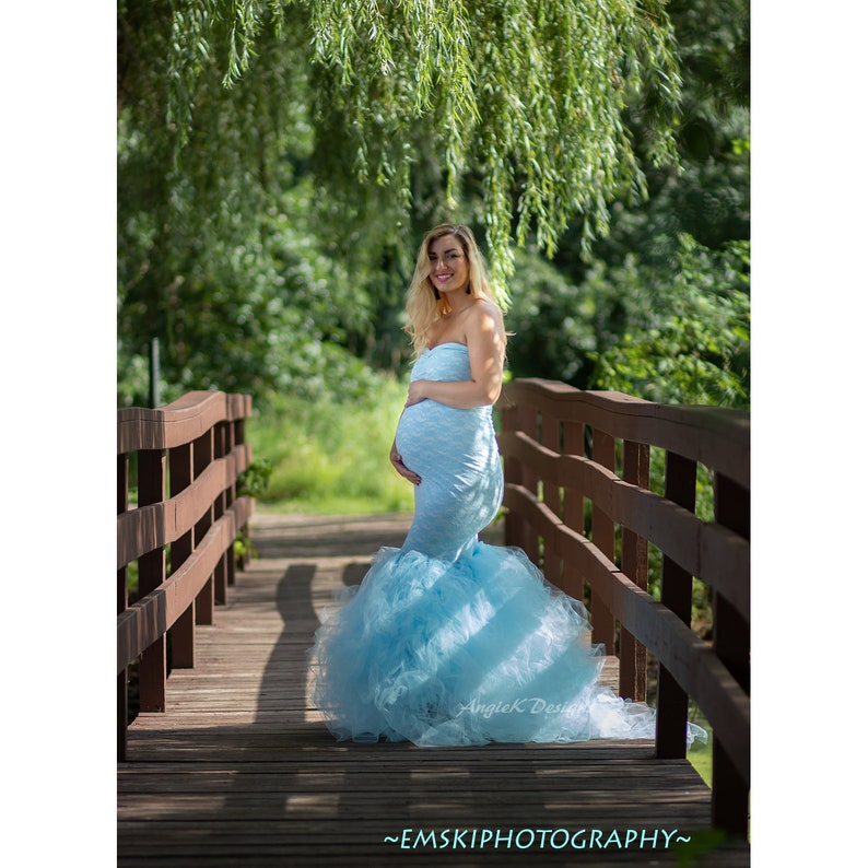BlueTULLE DRESS Stripe Flowy TutuNon Sheer Maternity Pregnancy Belly SessionSpecial OcassionPhoto Prop Baby Shower