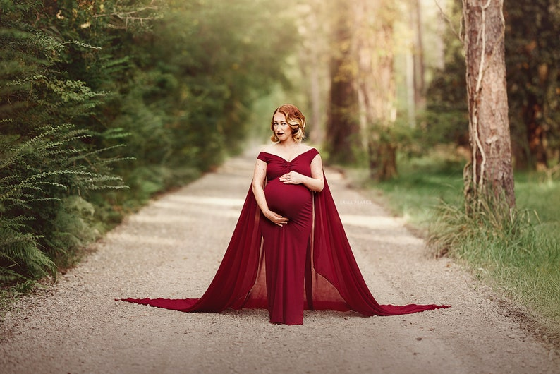 BURGUNDY CAPE Maternity sleevless Bell Gown~Maternity PhotoshootBaby Shower GownPLUS sizes