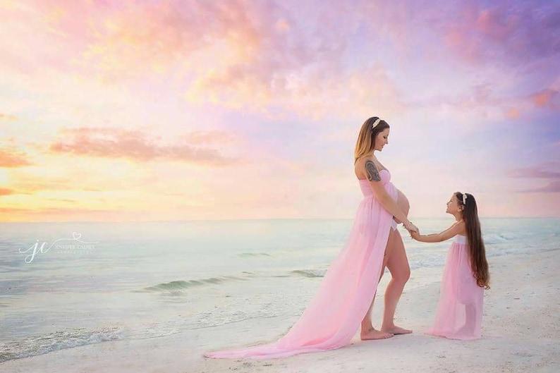 PINK Mama Dress~Flowy Breeze Chiffon Photo Session GownButterfly Sweetheart TopMaternity DressGownPregnancy Photo PropBaby Shower