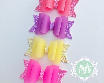 Baby Girl Headband, Glitter Bow w/ jelly pvc, Girls Hair-bows, Hair Clips