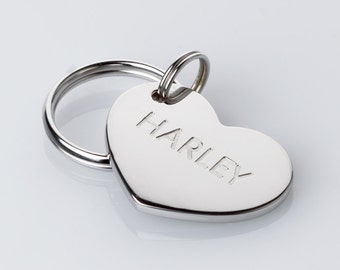Personalized Heart Shaped Pet ID tag - White Rhodium Plated