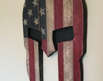 Rustic Wooden Spartan Helmet Flag Wall Hang