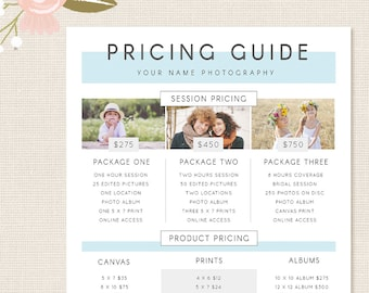 Photography Pricing Template Guide List Price Photoshop Photographer