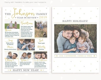 Year in review Christmas card template, 2019 overview, Year in review template, Year in review holiday card, Year in review card, new year