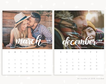 2018 Photography calendar template for photographers, printable calendar, photographer calendar, calendar printable, year calendar, letter