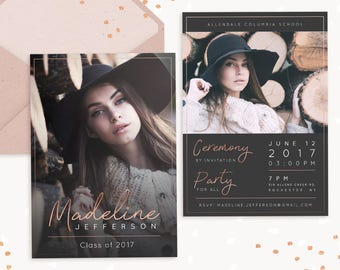 college graduation announcement template etsy