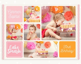 first birthday card template birthday cake collage cake etsy