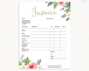 Invoice Template Photography Invoice Business Invoice Etsy - How to create a commercial invoice online bead stores