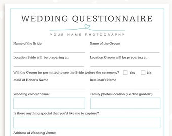 wedding photography questionnaire template photography forms wedding booking form for photographer
