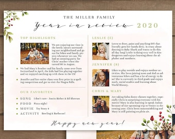 Year in review Christmas card template, 2020 overview, Year in review template, Year in review holiday card, Year in review card, new year