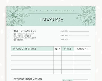 invoice template photography invoice business invoice receipt template for photographers photography forms photoshop template floral
