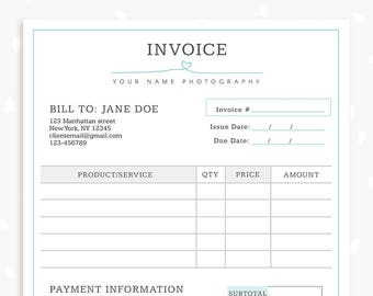 Invoice template photography invoice business invoice etsy invoice template photography invoice business invoice receipt template for photographers photography forms photoshop template accmission Image collections