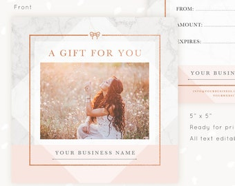 gift certificate template photo gift card photography gift certificate printable photoshop template gift voucher marble rose gold