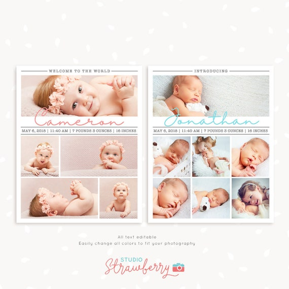 Newborn collage template for photoshop 8x10 inch collage etsy image 0 maxwellsz