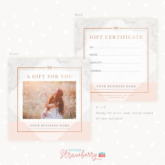Gift Certificate Template Photo Gift Card Photography Gift Etsy