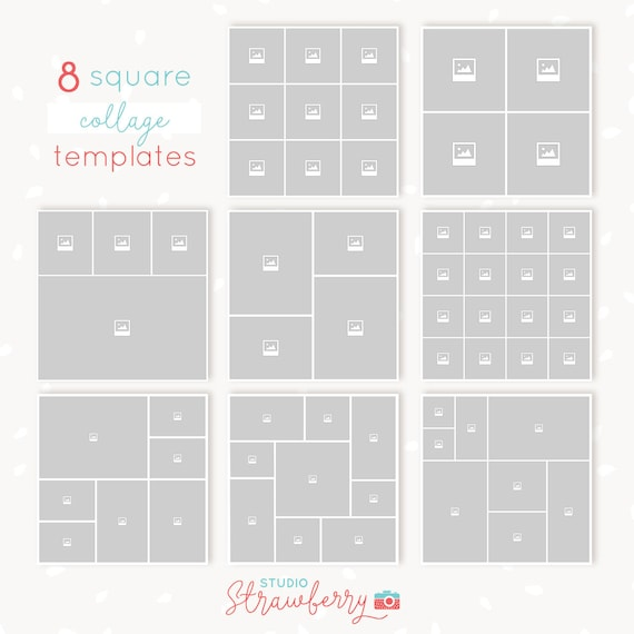 Collage Template Photoshop Square Collages Bundle 8x Storyboards Instagram Collage Moodboards Blog Boards Square Photo Collages