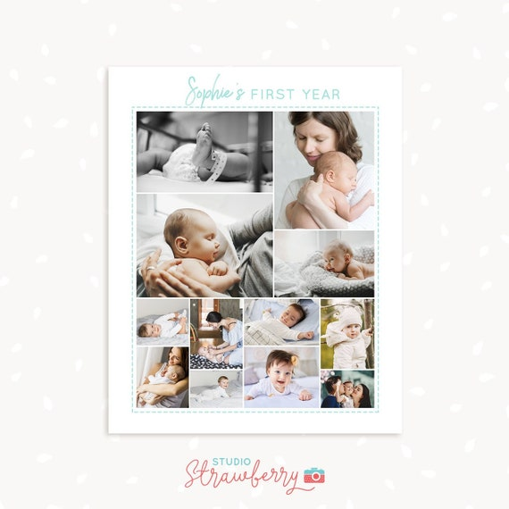 Babys First Year Photo Collage 8x10 Printable For Baby Etsy