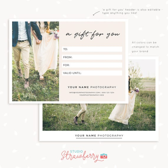 Gift Certificate Template 7x5 Photo Gift Card Printable Etsy
